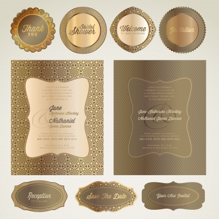 Set of wedding invitation card and elements  Vector
