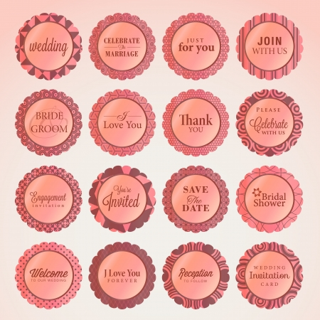 wedding reception decoration: Set of wedding badges