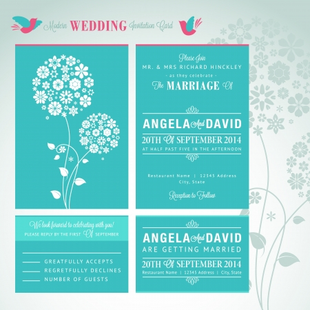 wedding reception decoration: Modern wedding invitation card