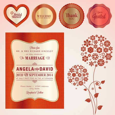 wedding reception decoration: Set of wedding invitation card and elements