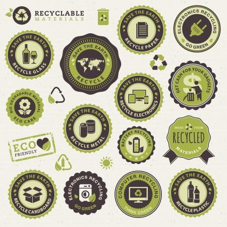 reciclar: Conjunto de etiquetas y pegatinas para el reciclaje Vectores
