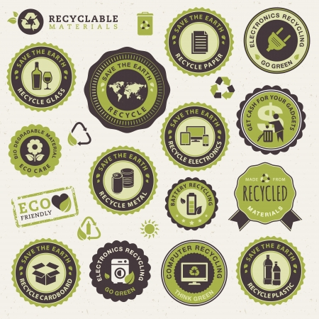 go green icons: Set of labels and stickers for recycling  Illustration