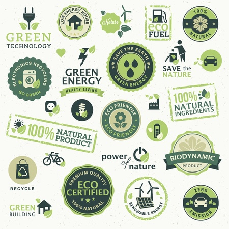 eco house: Set of labels and elements for green technology