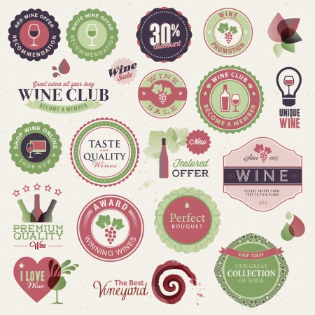 food label: Set of labels and elements for wine