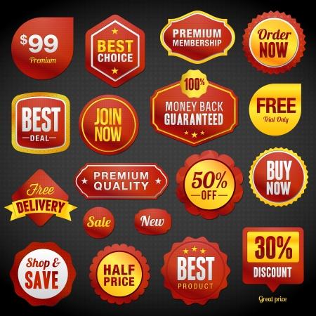 orden de compra: Conjunto de insignias y pegatinas Vectores
