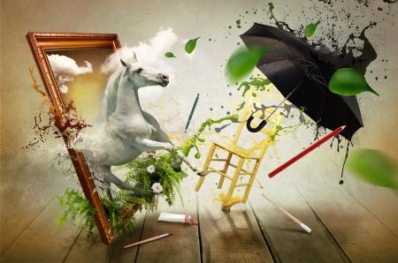絵画の魔法の世界 写真素材