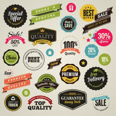Set of stickers and ribbons  Stock Vector - 15369587