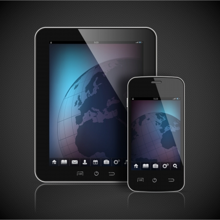 Realistic tablet computer and mobile phone template  Vector