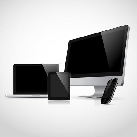 Realistische vector laptop, tablet computer, monitor en mobiele telefoon template