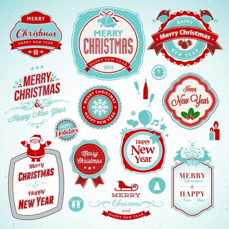 champagne celebration: Set of stickers and badges for New Year and Christmas  Illustration