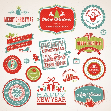 Set of labels and elements for Christmas and New Year  Vector