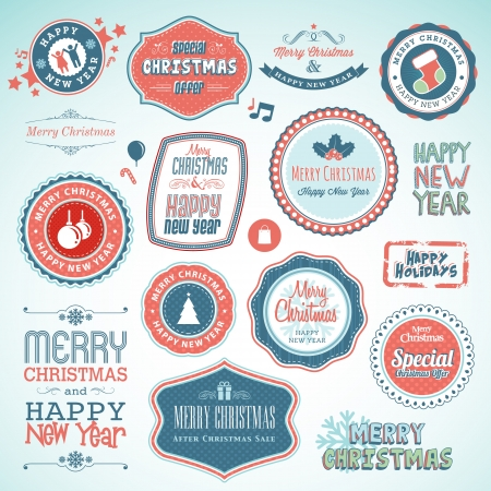 shopping champagne: Set of stickers and elements for Christmas and New Year  Illustration