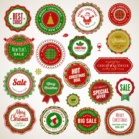 Set of badges and stickers for Christmas and New Year  Vector