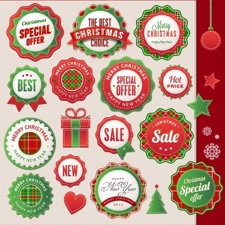 offer icon: Set of badges and elements for Christmas and New Year  Illustration