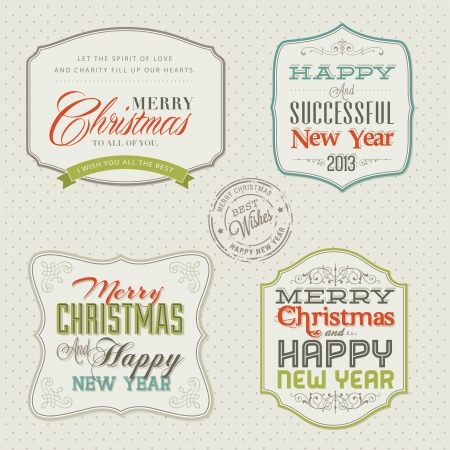 christmas vintage: Set of vintage styled Christmas and New Year cards  Illustration