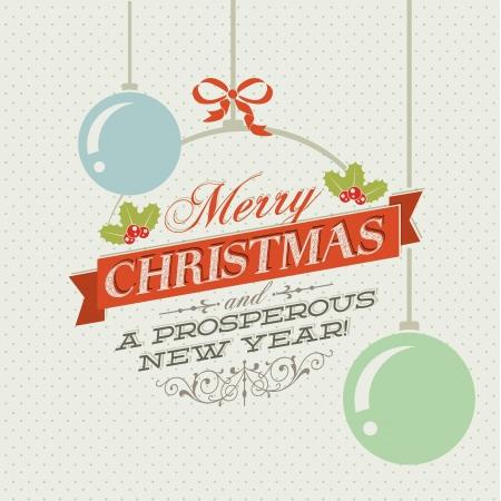 christmas card background: Vintage vector Christmas card with Christmas decorations  Illustration