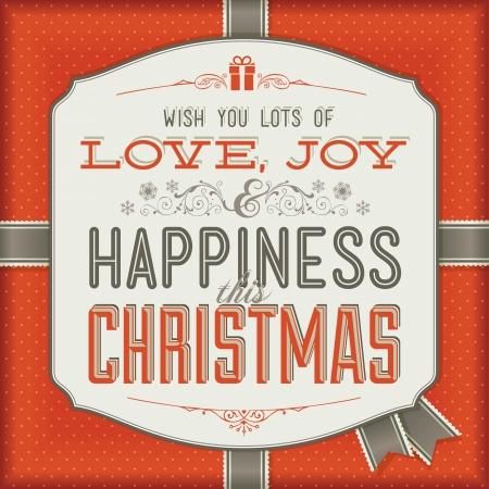 happy new year stamp: Vintage tarjeta de Navidad Vectores