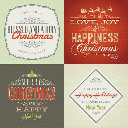 reindeer: Set di vintage in stile Natale e carte di Capodanno Vettoriali