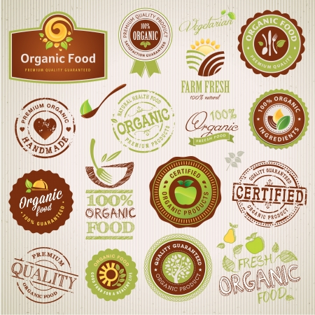 food label: Set of organic food labels and elements