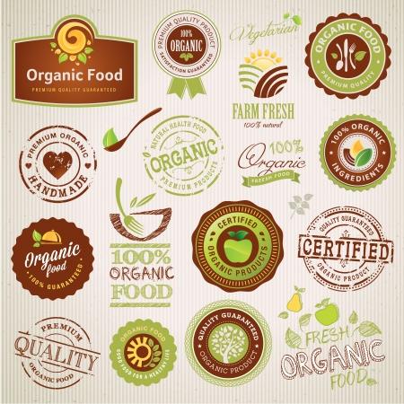 label: Set van biologisch voedsel etiketten en elementen Stock Illustratie