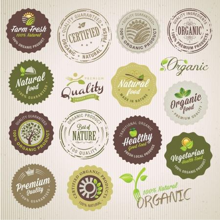 label: Biologisch voedsel etiketten en elementen