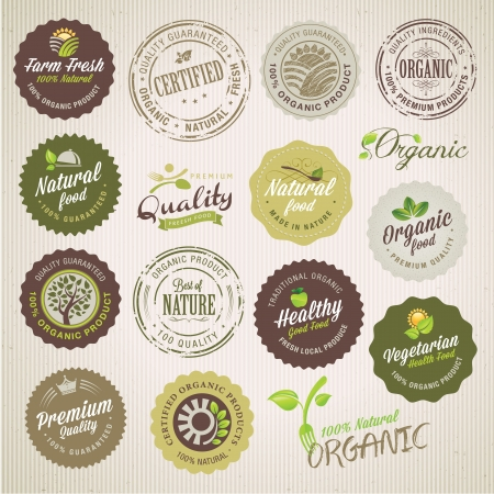 Organic food labels and elements  Stock Vector - 16678930