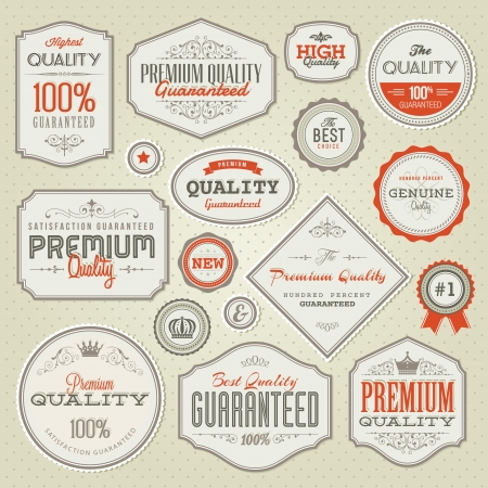 Set of vintage labels and stickers Stock Vector - 16823486