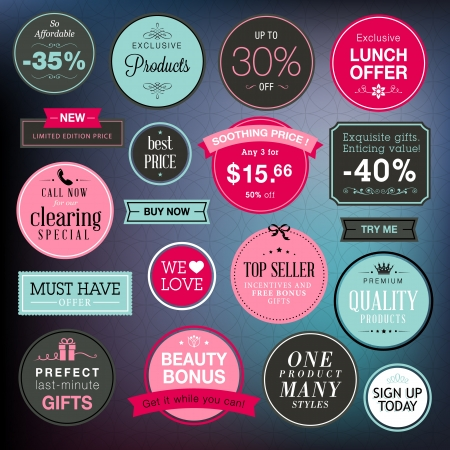 Set of stickers and badges for sale  Stock Vector - 17241690