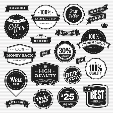 Set of labels and ribbons for sale  Vector