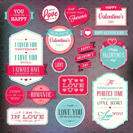 romantic kiss: Set of stickers and badges for Valentine`s day