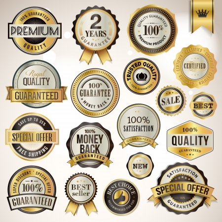 certified: Set of luxury badges and stickers  Illustration