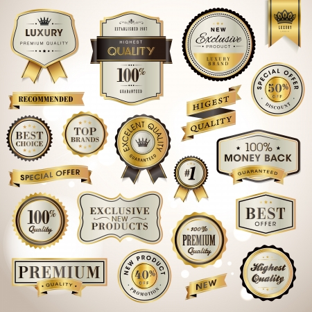 Set luxury labels and ribbons Stock Vector - 17468922