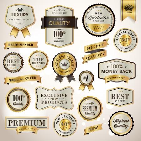 Stel luxe labels en linten Vector Illustratie