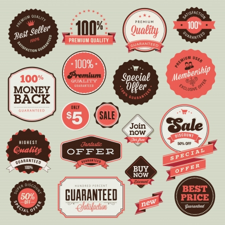 best offer: Set of vintage badges and labels  Illustration