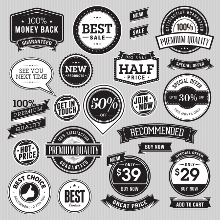 Set of badges and ribbons for sale Stock Vector - 17758502