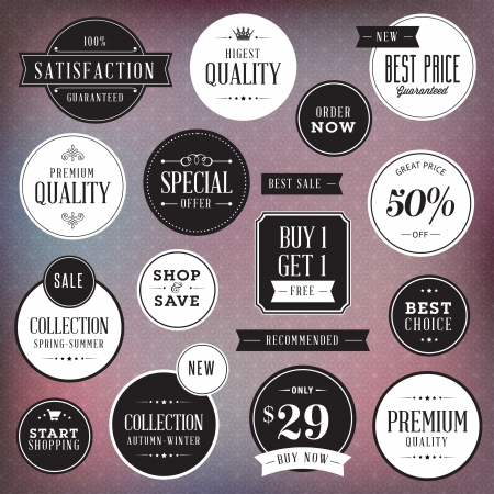discount coupon: Set of luxury labels and badges Illustration