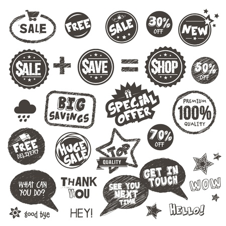 Set of hand drawn style badges and elements  Stock Vector - 17896518
