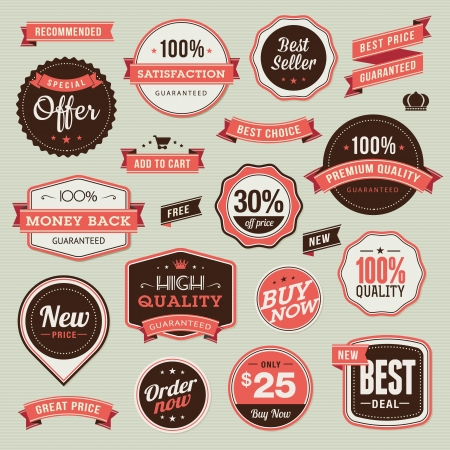 Set of vintage badges and ribbons  Stock Vector - 17896516