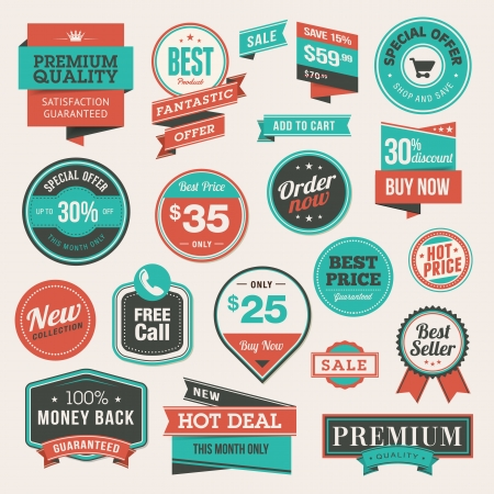 Set of vintage badges and stickers Stock Vector - 17896514