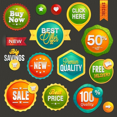 discount: Set of labels and icons