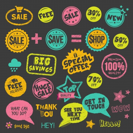 Set of hand drawn style badges and stickers on blackboard  Vector