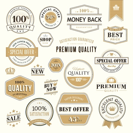 money order: Set of golden badges and stickers for sale