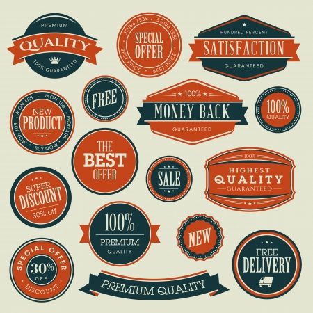 Set of vintage stickers for sale  Stock Vector - 18244633