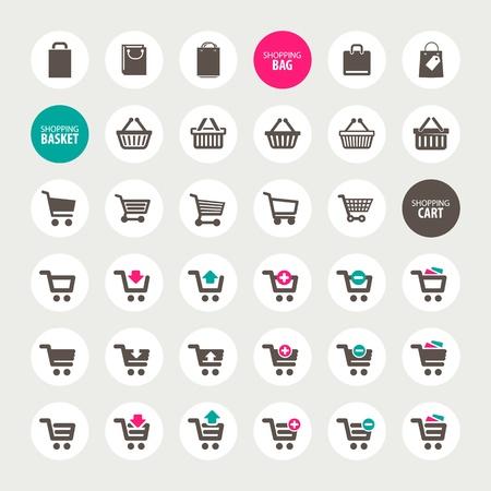 negozio: Set di carrello, cestino e borsa icone Vettoriali