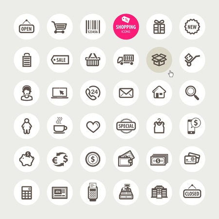 cash icon: Set of shopping icons