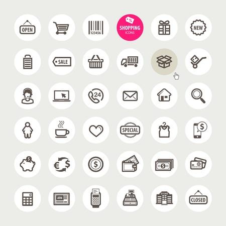 gift cart: Set of shopping icons
