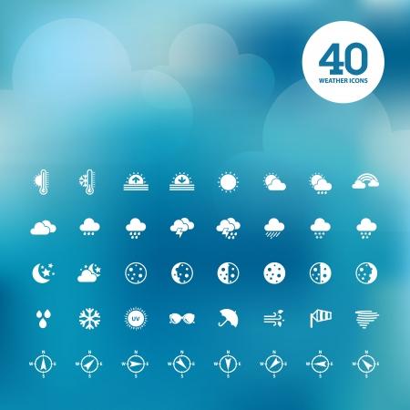dia y noche: Conjunto de iconos del tiempo Vectores