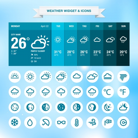 Weather widget and icons  Vector