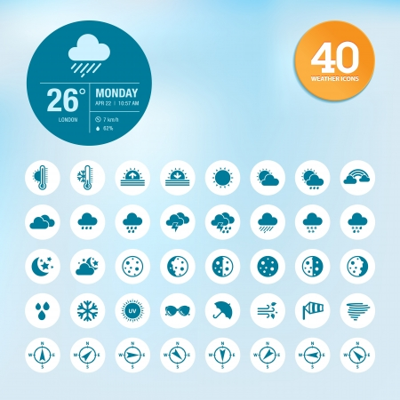 Set of weather icons and widget template  Vector