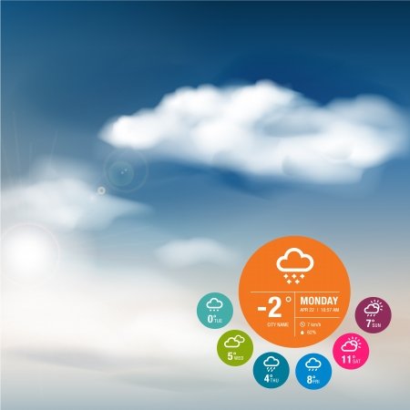 Weather widget template and sky background  Vector